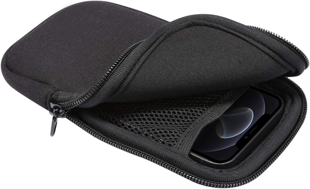 Zip Slim Neoprene Cell Phone Sleeve, Mesh Pocket Wallet Pouch for Samsung Galaxy A01 / A41 / S10e / S10 / A2 Core/Google Pixel 5 / 4a / 4/3 / Moto E6 / G7 Play/Nokia 1.3/2.2/4.2 (Black)