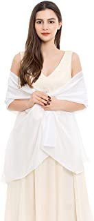 REEMONDE Womens Luxurious Soft Satin Chiffon Bridal Scarf Shawl Wraps Pashmina for Evening Party (White Satin)