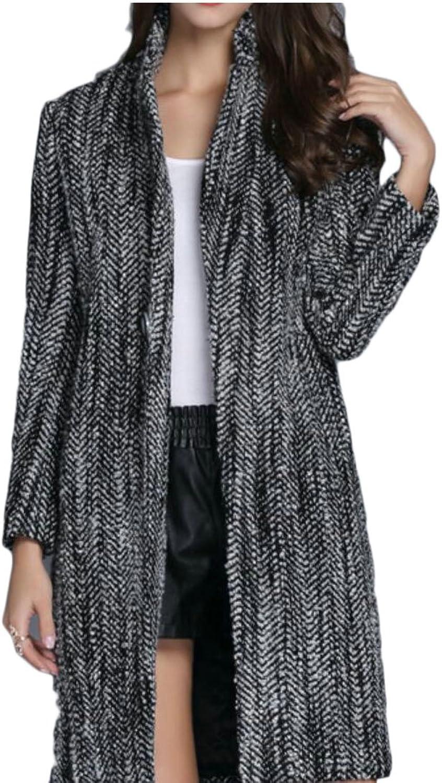 GAGA Women's Warm Lapel Wool Long Trench Coat Single Breasted Outwear