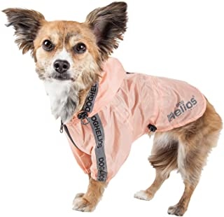 Dog Helios ® 'Torrential Shield' Waterproof Multi-Adjustable Pet Dog Windbreaker Raincoat, X-Large, Pink