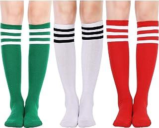 1e0a6f359e5 Tatuo 3 Pairs Classic Triple Stripes Knee Socks Athletic Sports Tube Socks  Casual Soccer Socks