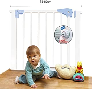 Kiddale Baby Safety Gate(2.5 ft -2.8ft Wide), Auto Close, 4 Strong Wall Grippers Cups Set(Suitable for Passage Width Between 75cm to 88cm) Height 78 cm-White