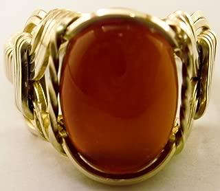 Carnelian Ring 14k Gold Filled 14 mm Mini Mens Ladies Unisex Size 5-14 Jewelry
