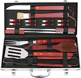 femor BBQ Grill Tools Set 19-Piece Stainless Steel Utensils Outdoor Cooking Accessories Spatula Tongs Cleaning Brush with ...