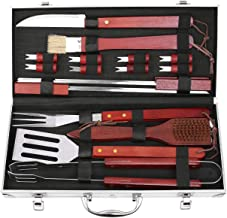 femor BBQ Grill Accessories Set, 19-Pieces Stainless Steel Utensils, Outdoor Cooking Accessories Spatula, Tongs, Cleaning Brush with Aluminum Storage Case, Best Gift on Father's Day