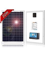 DOKIO ソーラーパネル 20W 12V 高効率 ポータブル電源 太陽電池 コンパクトで野外に最適 チャージコントローラ付