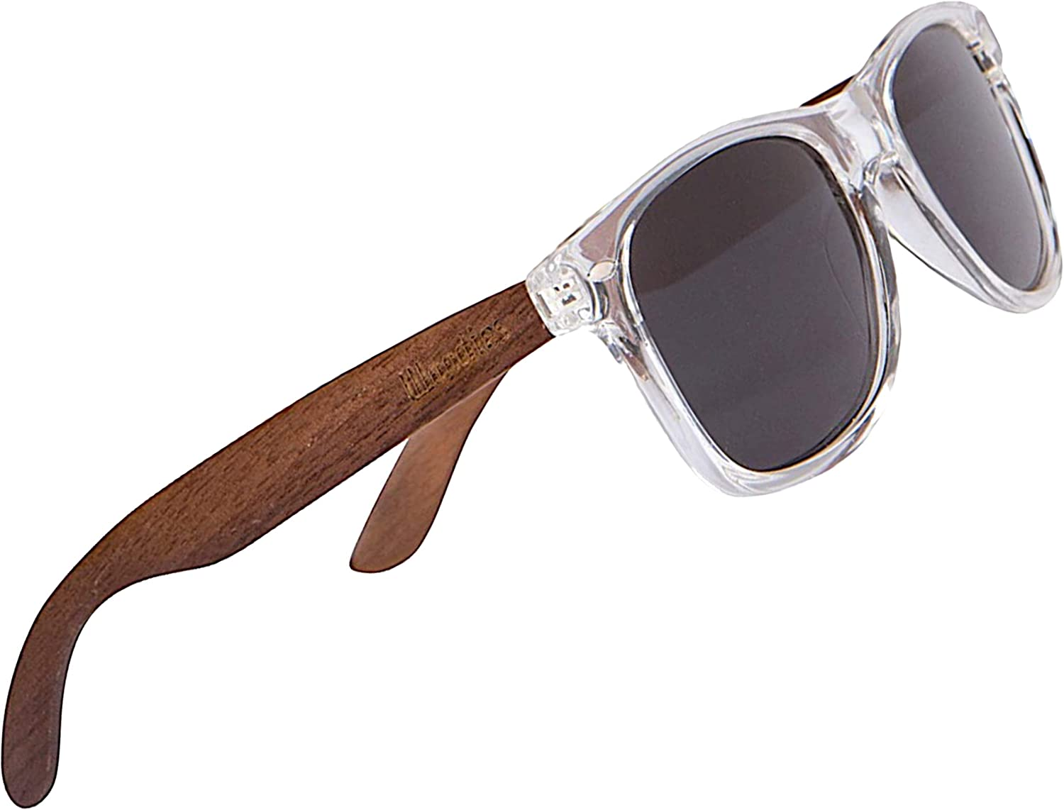 WOODIES Polarized Walnut Wood Sunglasses for Men and Women | Clear Frame Black Polarized Lenses and Real Wooden Frame | 100% UVA/UVB Ray Protection