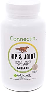 In Clover Connectin Hip and Joint Tablet Supplement for Dogs, combines Glucosamine, Chondroitin and Hyaluronic Acid with herbs, patented and clinically tested to work in 15 Days, 50 Count