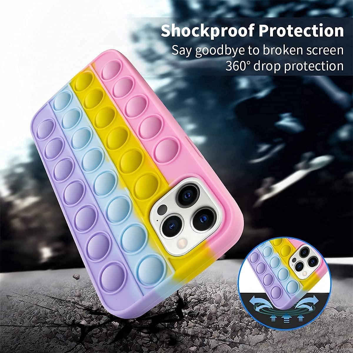 Fidget Toys Phone Case, Pop Fidget Reliver Stress Toys Push Pop Bubble Protecive Phone Case, Silicone Shockproof Phone Cover, Anti-Fall Shockproof Silicone Phone Case (iPhone X / Xs)