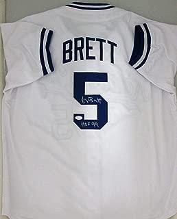 Kc Royals George Brett Autographed White Jersey (Size XL) Signed HOF '99 - JSA Certified