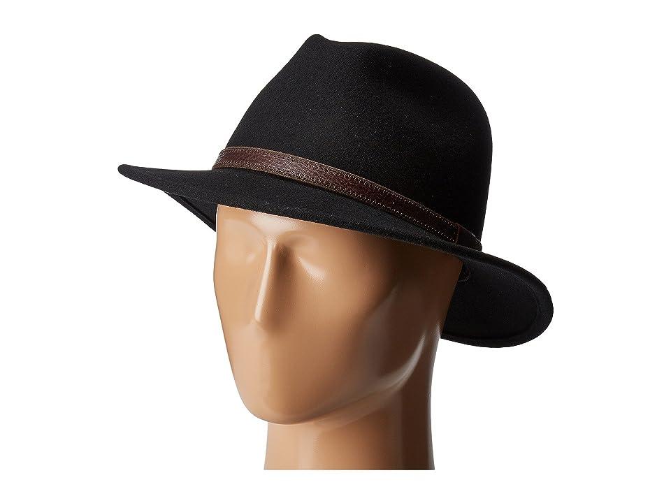 Country Gentleman Hamilton Drop Brim Fedora Hat (Black) Caps