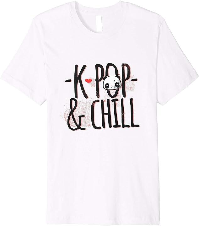 'K-Pop And Chill Panda Bear' Funny Panda Gift Shirt