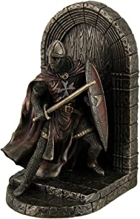 Resin Decorative Bookends Maltese Crusader Statue In Armor Guarding Door Holding Shield & Sword Bookend 4.75 X 7.5 X 4.25 ...
