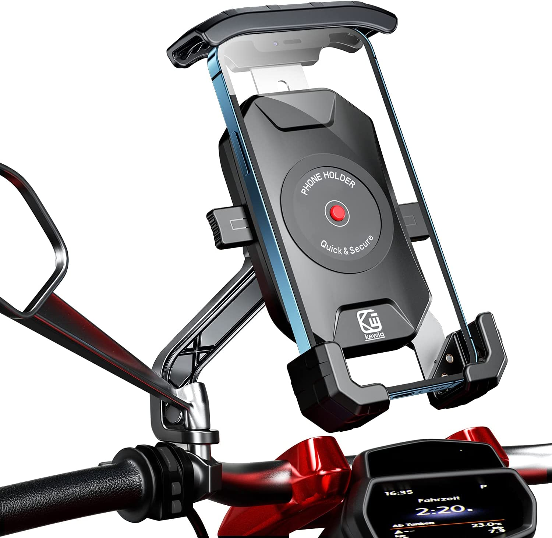 WACCET Soporte Movil Moto 360° Rotación Soporte Telefono Motocicleta Durable Anti Vibración Soporte Movil para Moto Retrovisor Resistente al Óxido SoporteMovilScooter para Movil 4-7 Pulgada (Negro)
