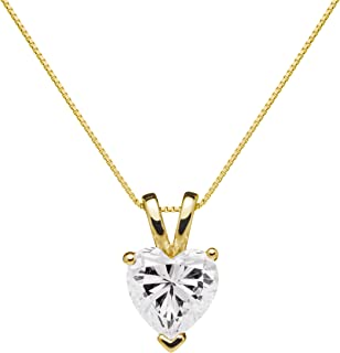 14K Solid Yellow Gold Pendant Necklace | Heart Cut Cubic Zirconia Solitaire | 2 Carat | 16 Inch .60mm Box Link Chain | With Gift Box
