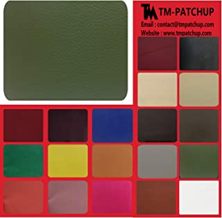 TMpatchup Genuine Leather and Vinyl Repair Patches Kit - Grain Self Adhesive Leather to Repair Furniture, Couch, Sofa, Jacket - Multiple Colors and Sizes Available (Dark Green, 8'' x 11'')