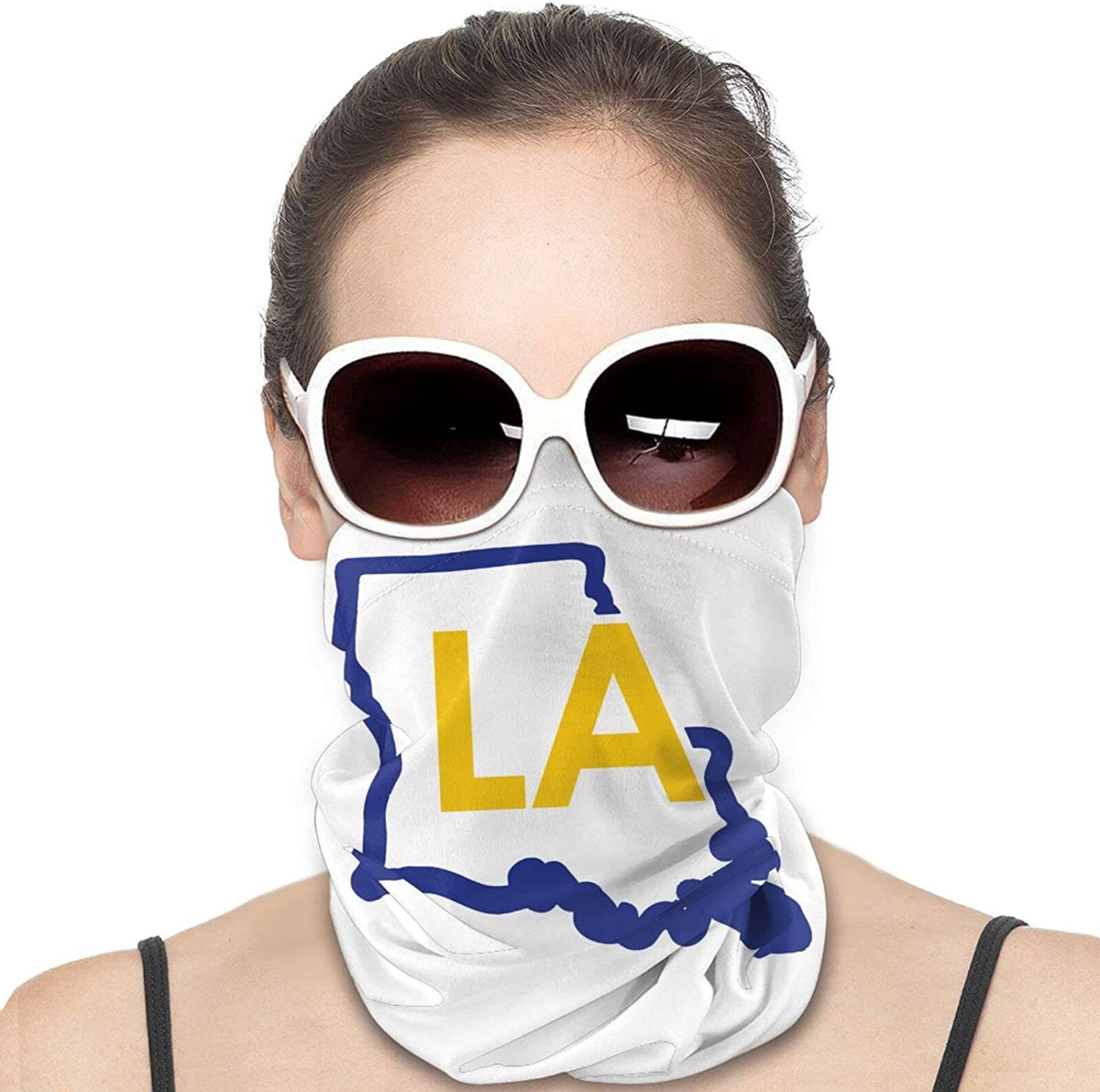 Louisiana Map Outline Round Neck Gaiter Bandnas Face Cover Uv Protection Prevent bask in Ice Scarf Headbands Perfect for Motorcycle Cycling Running Festival Raves Outdoors