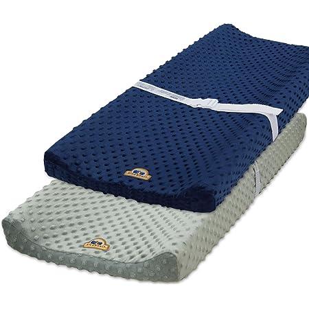 BlueSnail Ultra Soft Minky Dot Changing Pad Cover 2 Pack (Gray+Navy, 2 Pack)