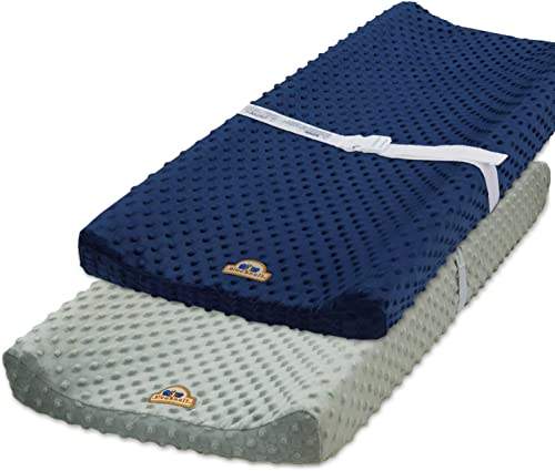 BlueSnail Ultra Soft Minky Dot Changing Pad Cover 2 Pack (Gray+Navy, 2 Pack)