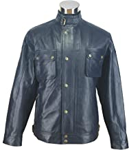 Leather Jacket for Men Navy Blue Racemaster Lamb Hide Gents Genuine Sheep tan Motorbike