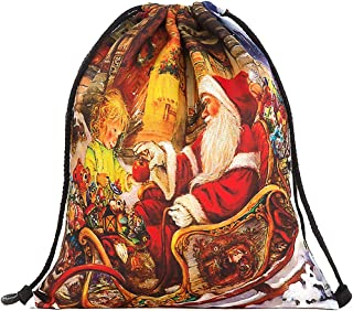 COAFIT Drawstring Backpack Santa Claus Drawstring Bag Christmas Gfit Bag