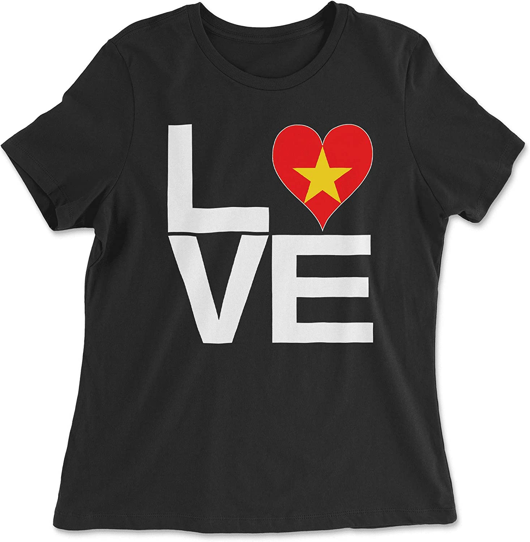 HARD EDGE DESIGN Women's Love Block Vietnam Heart T-Shirt