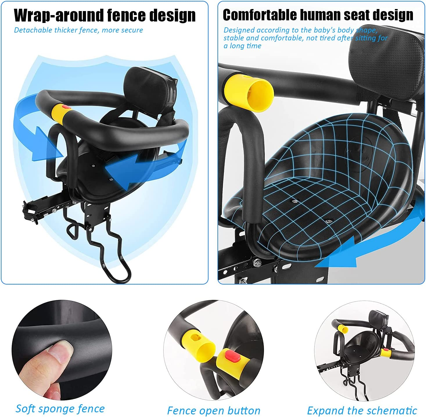 YouTeMei Kids Bike seat, Front Mounted Bike Seat for Adult Bike,Safety Bike Carrier for Kids,for 1-6years Old