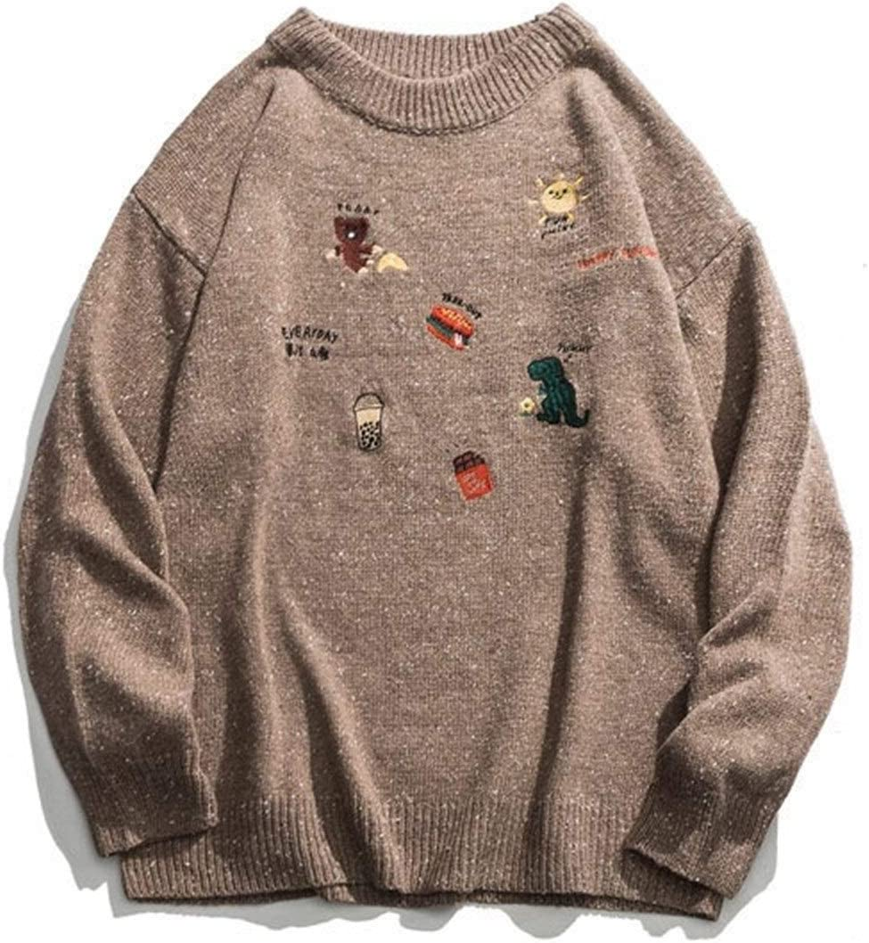 LSTGJ Embroidery Dinosaur Hamburger Pullover Knitted Sweaters Harajuku Casual Knitwear Jumper Tops Streetwear Lightweight (Color : Brown, Size : L.)