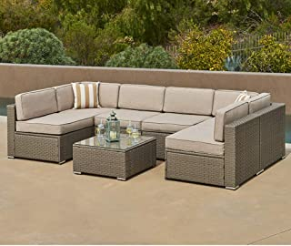 SUNCROWN Outdoor Furniture 7-Piece Patio Wicker Sofa Set Washable Seat Cushions and Glass Coffee Table, Waterproof Cover and Clips, Grey