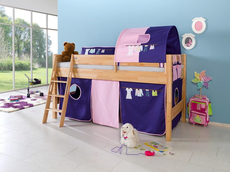 Dreams4Home Kinderbett Hochbett Spielbett Bett 'Alizee' 90 x 200 cm Buche massiv natur lackiert opt mit Kleider Vorhang Tasche, Ausführung Bett inkl. Set (Vorhang. Tunnel & Tasche)