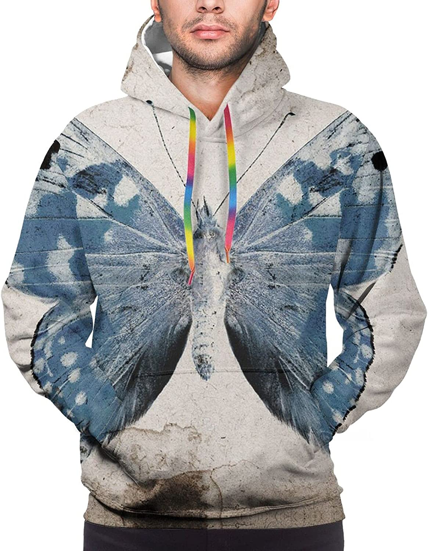 Hoodie For Men Women Unisex Blue Butterfly Vintage Hoodies Fashion Sweatshirt Drawstring