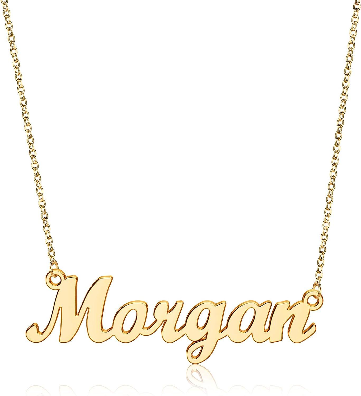 Yesteel Custom Name Necklace Personalized, 14K Gold Plated Personalized Necklaces for Women Name Jewelry, Gold Nameplate Necklaces for Teen Girls Gifts