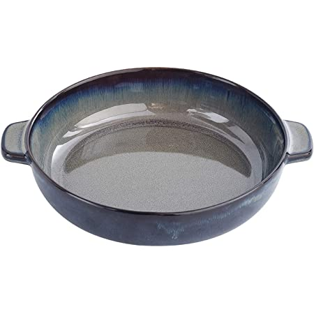 Black with 2 Handles KVV Ceramics Pizza Pan for Oven,9.2 Inches Diameter,Round Baking Dish with handle for Dinner,Skillet,Pie Plate,Cupcake Backing Pans