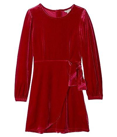HABITUAL girl Logan Velour Wrap Dress (Big Kids) (Dark Pink) Girl