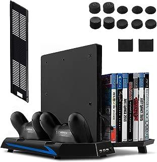 (ケテン)Keten PS4 / PS4 Slim スタンド PS4ディスク収納 (14個) 冷却ファン付き コントローラー2台充電 USBハブ3ポート(ブラック)