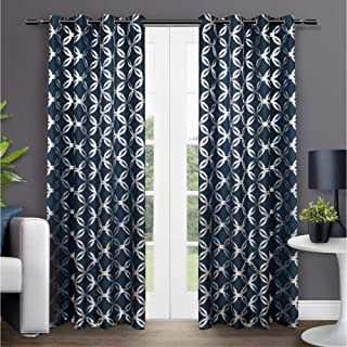 Exclusive Home Curtains Modo Metallic Geometric Window Curtain Panel Pair with Grommet Top, 54x84, Indigo, 2 Piece