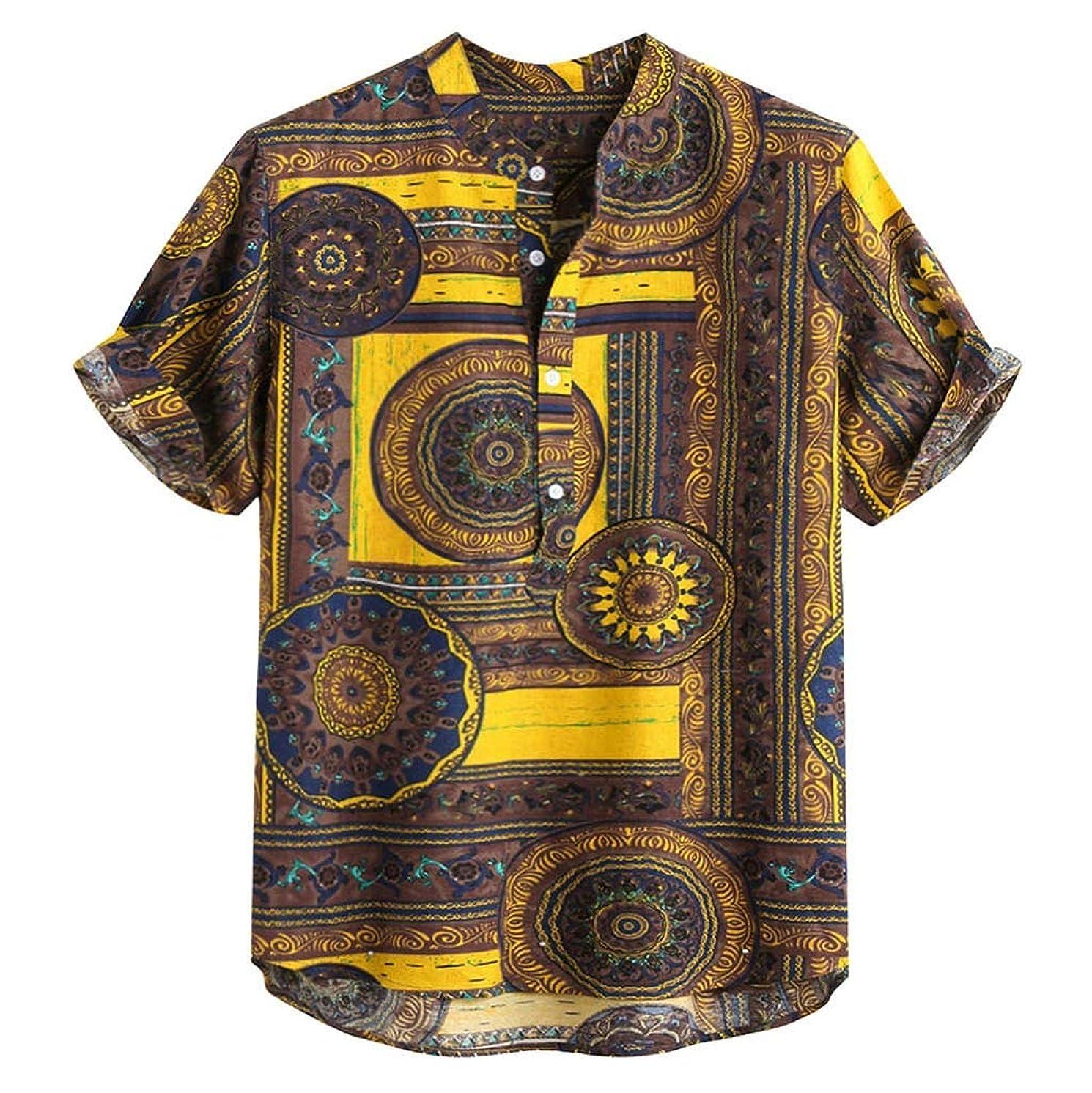 JJLIKER Men's Vintage Short Sleeve Henley Shirts Print Baggy Cotton Linen Hipster Tee Button Tops Blouse