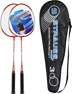 Strauss Power 300 Badminton Racquet with Cover (Black/Red)
