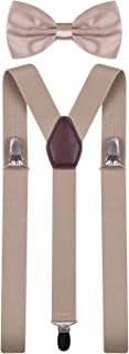 Khaki Suspenders Adjustable Braces for Trousers and Bow Ties Men and Women