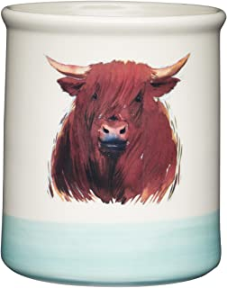 Kitchen Craft Apple Farm Hand-Finished 'Hamish Highland Cow' Ceramic Utensil Holder, 12.5 x 12.5 x 14.5 cm (5