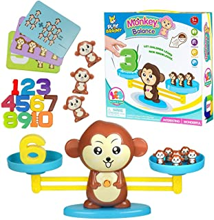 Play Brainy Balancing Monkey Math Game – Fun & Educational Monkey Scale Math Toy – Cute Numbers Counting Game for Girls & ...