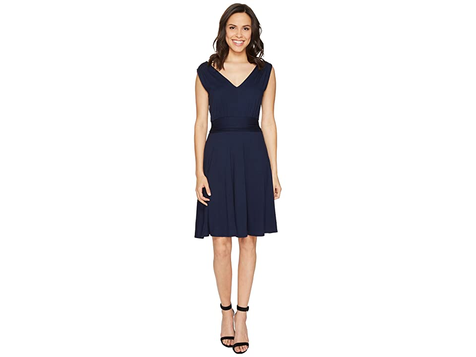 Three Dots Sleeveless Shirred Dress (Night Iris) Women