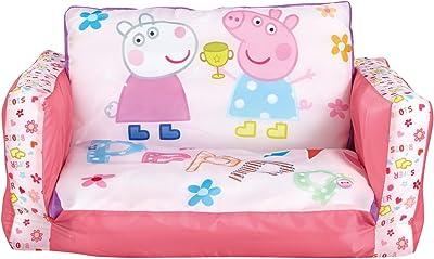 Peppa Pig - Mini canapé convertible - canapé-lit gonflable pour enfants, Rose, Dimensions : (H) 26 x (L) 68 x (P) 105 cm