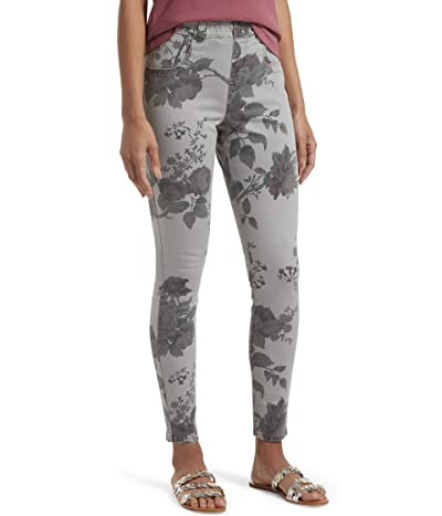 HUE Faded Floral Ultra Soft Denim High-Waist 7/8 Leggings (Faded Grey Rose) Women