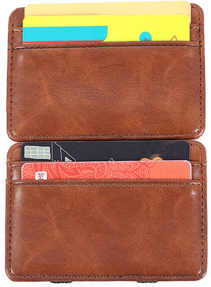 Leather Mens Slim Magic Flap Wallet and Credit /& ID Case Holder
