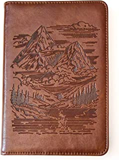 Mountains Journal by SohoSpark, Writing Journal, Personal Diary, Lined Journal, Travel, 6x8.75 Notebook, Writers Notebook, Faux Leather, Refillable, Fountain Pen Safe, Lay Flat Binding