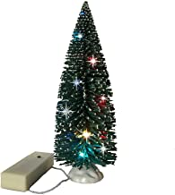 Christmas Village Accessories- 9 Inch Tree with LED Slow Color Changing Lights - Table Top Bottle Brush Trees Lighted - Gr...