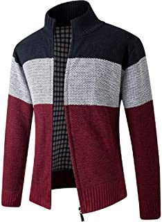 CRYYU Mens Zip Up Slim Stand Collar Contrast Color Knit Casual Cardigan Sweater