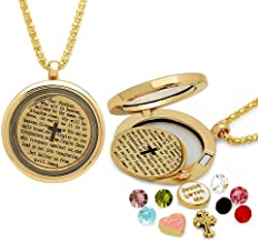 Gem Stone King Multi-Colored Crystals Charm with Bible Locket Pendant Necklace