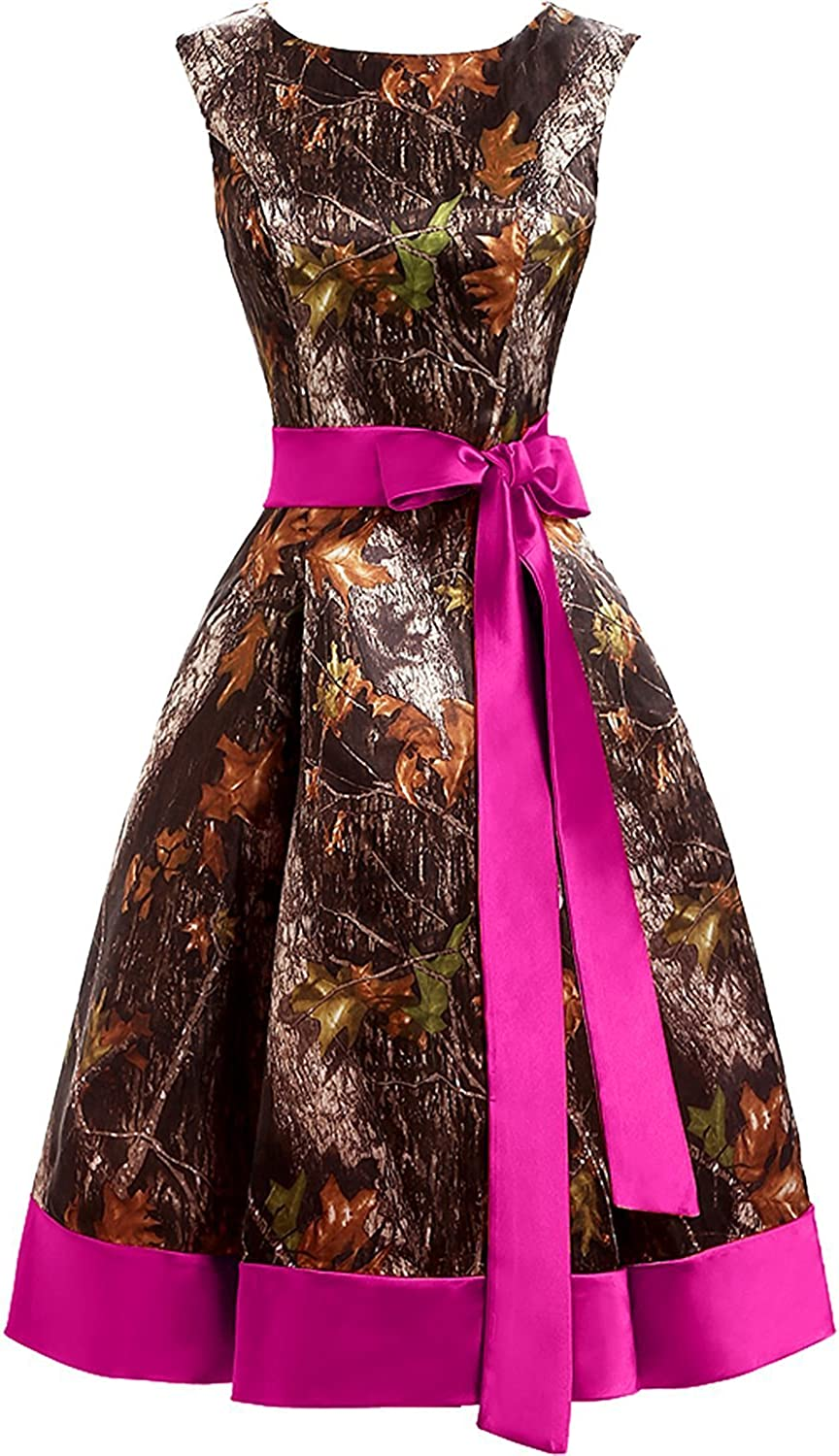 DINGZAN Satin and Camo Mini Cocktail Prom Party Homecoming Dress for Pageant Fuchsia 12